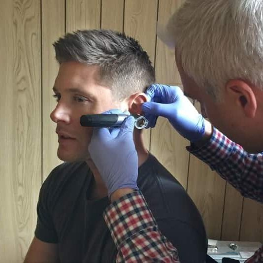 image of jensen ackles getting ear impressions taken by our audiologist at vancouver custom earplugs