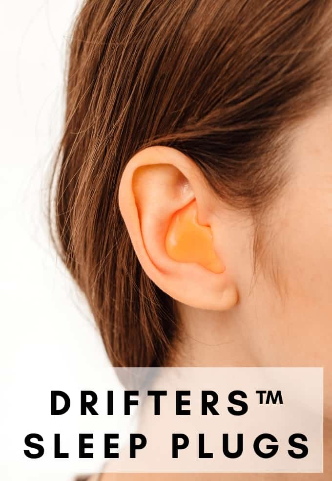 Picture of woman wearing custom made sleep earplugs in vancouver